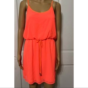 Neon Coral Cinched Waist Dress by City Triangles L